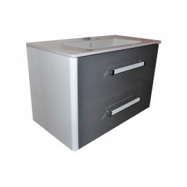 Wastafel Ideal 81x45 cm met meubel 2 laden Topo Grigio gelakt