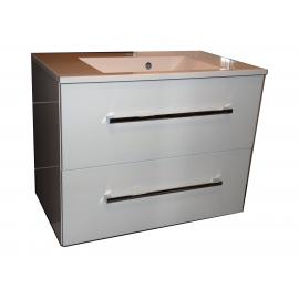Wastafel Flat 80x47 cm met meubel 2 laden wit hoogglans gelakt