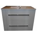 Wastafel Ector 80x48 cm met meubel 2 laden wit hoogglans gelakt