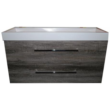 Wastafel Kns 120x46 cm 1.0271042.2 wit keramiek met meubel 2 laden Eiken Carbon VF-2707A-40