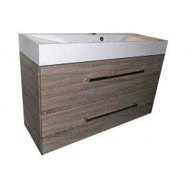 Wastafel Yaku 81x36 cm met meubel 2 laden Eiken Mantari