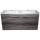 Wastafel Flat 120x47 cm met meubel 2 laden Eiken Carbon VF-2707A-40