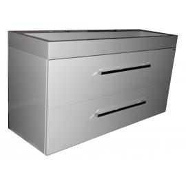 Wastafel Sanitrend 120x45 cm 1.34245.2 met meubel 2 laden wit hoogglans gelakt