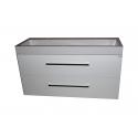 Wastafel Sanitrend 70x45 cm 1.34443.2 met meubel 2 laden wit hoogglans gelakt BG