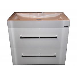 Wastafel 80x47 cm zonder kraangat Unb Space Sanp. met meubel 2 laden wit hoogglans gelakt