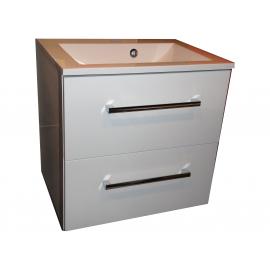 Wastafel Flat 60x47 cm met meubel 2 laden wit hoogglans gelakt