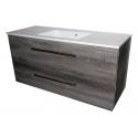 Wastafel Ector 120x48 cm met meubel 2 laden Eiken Carbon VF-2707A-40