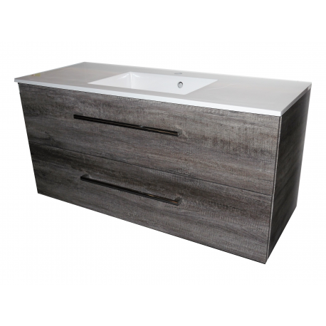Wastafel Ector 120x48,5 cm met meubel 2 laden Eiken Carbon VF-2707A-40