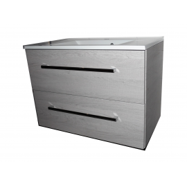 Wastafel Flat 80x47 cm met meubel 2 laden Eiken VF-2663-36