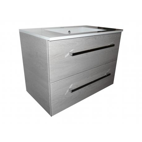 Wastafel Ector 80x48,5 cm met meubel 2 laden Eiken VF-2663-36