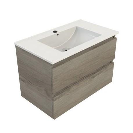 Wastafel Sanitrend 80x46 cm met meubel 2 laden zilver eiken 52.57227.4