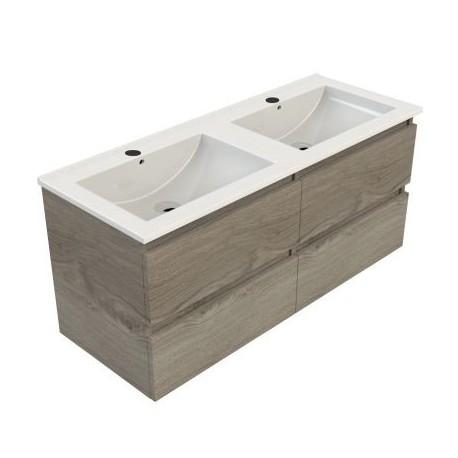 Wastafel Sanitrend 120x46 cm met meubel 4 laden zilver eiken 52.60757.4