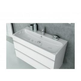 Wastafel 2 x kraangat met meubel Kubiko 100x45 cm wit hoogglans gelakt