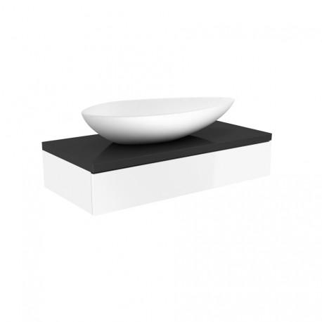 Waskom met meubel Verde Olive 90x48,5 cm antraciet met wit hoogglans gelakt MLSB190/MLSZ090
