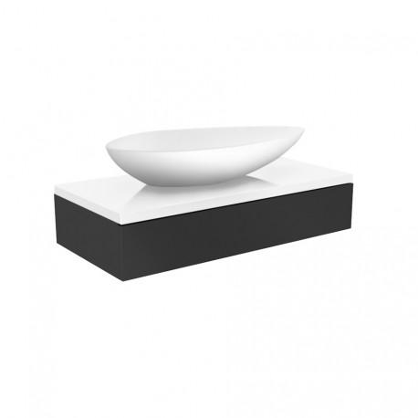 Waskom met meubel Verde Olive 90x48,5 cm wit met antraciet hoogglans gelakt MLSB090/MLSZ190