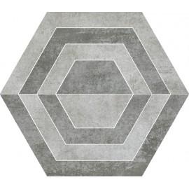 Decortegels 26x30 cm Scratch Grijs Heksagon A
