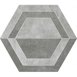 Decortegels 26x30 cm Scratch Grijs Heksagon B