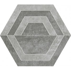 Decortegels 26x30 cm Scratch Grijs Heksagon C