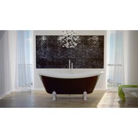 Vrijstaand bad wit - zwart BG-23 afm. 190x77 cm met leeuwenpoten chroom