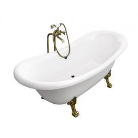 Vrijstaand bad wit BG-23 afm. 190x77 cm met leeuwenpoten gold