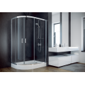 Douchecabine 80x100x185 cm asymmetrisch BG-91 structuur glas