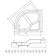 Douchebak 80x100x38,5 cm asymmetrisch Links BG-107 met zitting