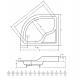 Douchebak 80x100x38,5 cm asymmetrisch Rechts BG-107 met zitting
