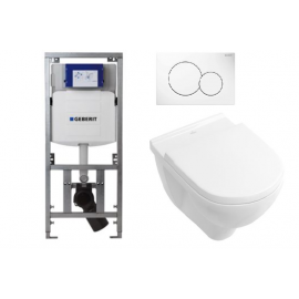Toiletset Wc element Geberit m. wc pot Villeroy & Boch O. Novo Direct Flush m. softcl. zitting m. drukpl. Sigma 01 wit