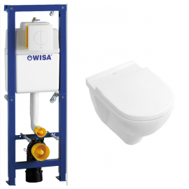 Toiletset WC element Wisa XS inbouw met drukplaat wit met wc pot Villeroy & Boch O. novo met softclose zitting 110249952