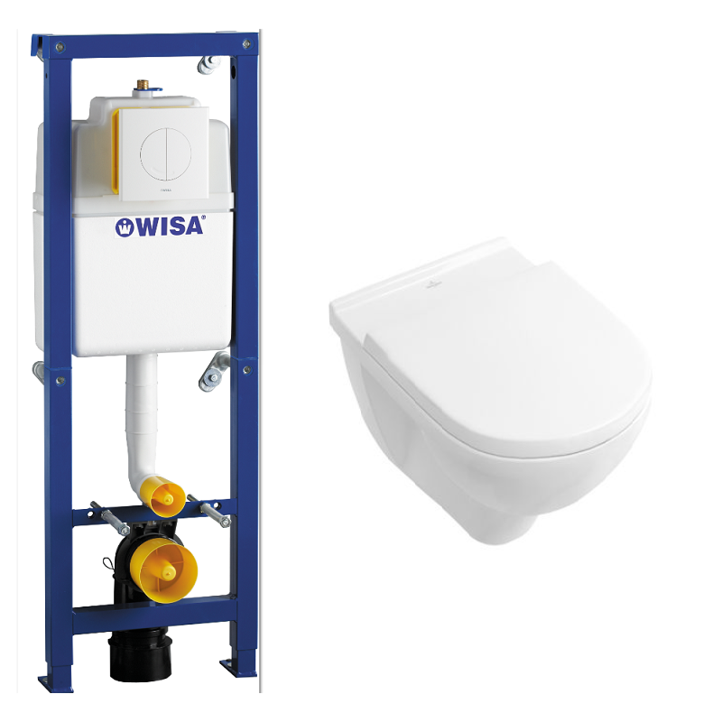 Staande Wc Pot Met Inbouwreservoir.Toiletset Wc Element Wisa Xs Inbouw Met Drukplaat Wit Met Wc Pot Villeroy Boch O Novo Met Softclose Zitting 110249952