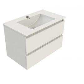 Wastafel met meubel Sanitrend 80x46 cm wit glans gelakt 2567702