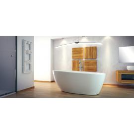 Vrijstaand bad BG-48 wit 142x62 cm met afvoer click clack chroom