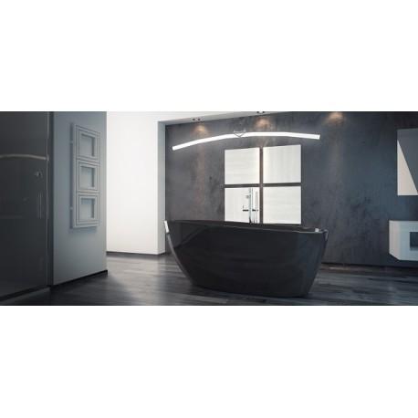 Vrijstaand bad BG-48 zwart 160x70 cm met afvoer click clack chroom