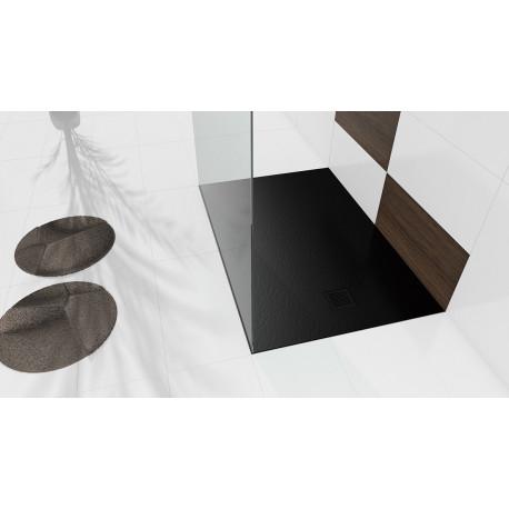 Douchebak 100x90x3 cm zwart mat massief rechthoek Mori