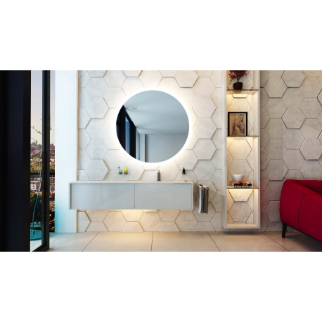 Spiegel LED 80 cm round Oko GD dimmer, touch bediening, 3 varianten led